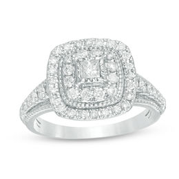 3/4 CT. T.W. Princess-Cut Diamond Double Frame Vintage-Style Engagement Ring in 14K White Gold