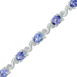 "Oval Tanzanite and Diamond Accent ""S"" Bracelet in Sterling Silver - 7.25"""