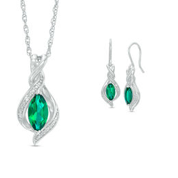 Marquise Lab-Created Emerald and White Sapphire Pendant and Drop Earrings Set in Sterling Silver