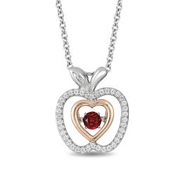 Enchanted Disney Snow White 3.5mm Garnet and 0.144 CT. T.W. Diamond Pendant in Sterling Silver and 10K Rose Gold - 19""
