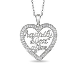 "Enchanted Disney Princess 1/5 CT. T.W. Diamond ""happily ever after"" Heart Pendant in Sterling Silver - 19"""