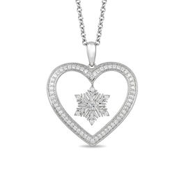 Enchanted Disney Elsa 1/5 CT. T.W. Diamond Snowflake Heart Pendant in Sterling Silver - 19""