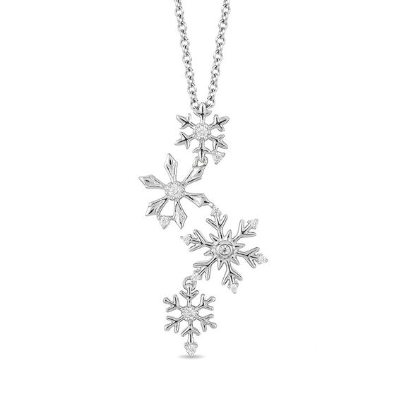 Zales 1/10 CT. T.w. Diamond Snowflake Pendant in Sterling Silver AJAdFQ