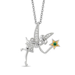 Enchanted Disney Tinker Bell Tourmaline and 1/10 CT. T.W. Diamond Pendant in Sterling Silver and 10K Gold Plate - 19""