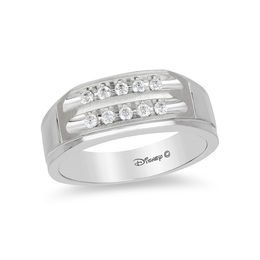 Enchanted Disney Men's 1/4 CT. T.W. Diamond Two Row Wedding Band in 14K White Gold