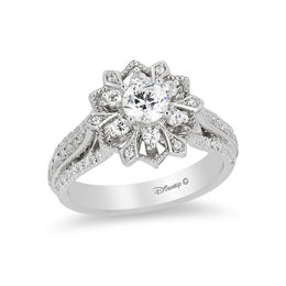 Enchanted Disney Elsa 1 CT. T.W. Diamond Snowflake Frame Engagement Ring in 14K White Gold