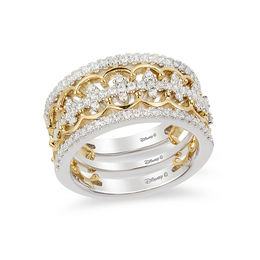 Enchanted Disney Princess 1/2 CT. T.W. Diamond Tiara Stackable Three Ring Set in 14K Two-Tone Gold