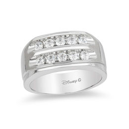 Enchanted Disney Men's 3/4 CT. T.W. Diamond Two Row Wedding Band in 14K White Gold