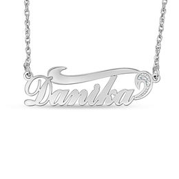 Diamond Accent Swirl Name Necklace in 10K White Gold (1 Line)
