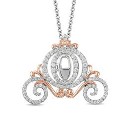 Enchanted Disney Cinderella 1/2 CT. T.W. Diamond Carriage Pendant in 10K Two-Tone Gold - 19""