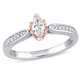 Julianna B™ 1/2 CT. T.W. Marquise Diamond Petal Frame Engagement Ring in 14K Two-Tone Gold