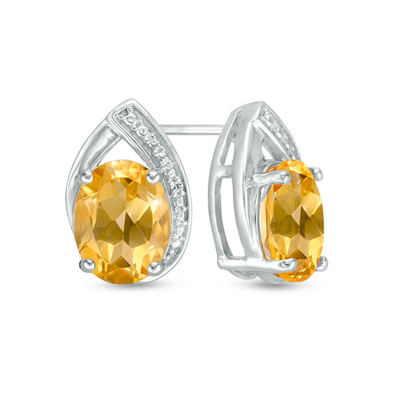 Zales Oval Citrine and Lab-Created White Sapphire Teardrop Stud Earrings in Sterling Silver SpiEF