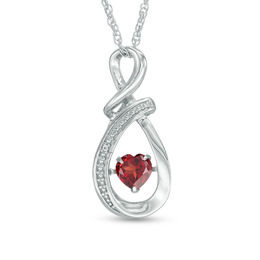 Unstoppable Love™ 5.0mm Heart-Shaped Garnet and Lab-Created White Sapphire Swirl Pendant in Sterling Silver