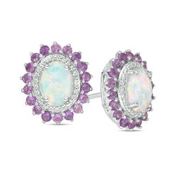 Oval Lab-Created Opal, Amethyst and White Sapphire Sunburst Frame Stud Earrings in Sterling Silver