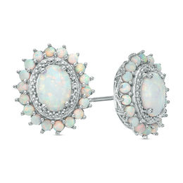 Oval Lab-Created Opal and White Sapphire Sunburst Frame Stud Earrings in Sterling Silver