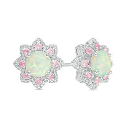 Lab-Created Opal and Pink and White Sapphire Flower Stud Earrings in Sterling Silver