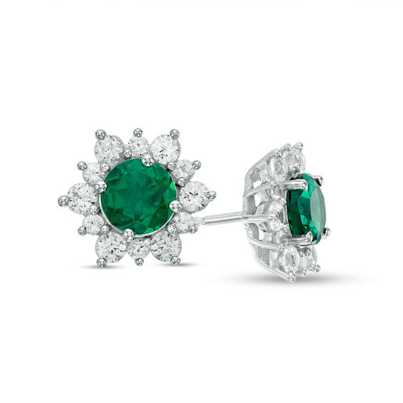 5 0mm Lab Created Emerald And White Shire Sunburst Stud Earrings In Sterling Silver