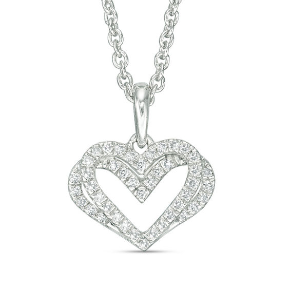 Zales 1/10 CT. T.w. Diamond Sideways Heart-Top Key Necklace in Sterling Silver 5mAIdrRUXD