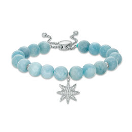 8.0mm Aquamarine Bead and Lab-Created White Sapphire Star Charm Bolo Bracelet in Sterling Silver - 9.0""