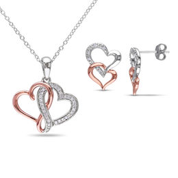 1/5 CT. T.W. Diamond Interlocking Hearts Pendant and Stud Earrings Set in Sterling Silver with Rose Rhodium