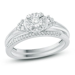 1/4 CT. T.W. Diamond Frame Tri-Sides Bridal Set in Sterling Silver