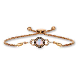Le Vian® Neopolitan Opal™ and Diamond Frame Buckle Bolo Bracelet in 14K Strawberry Gold® - 9.5""