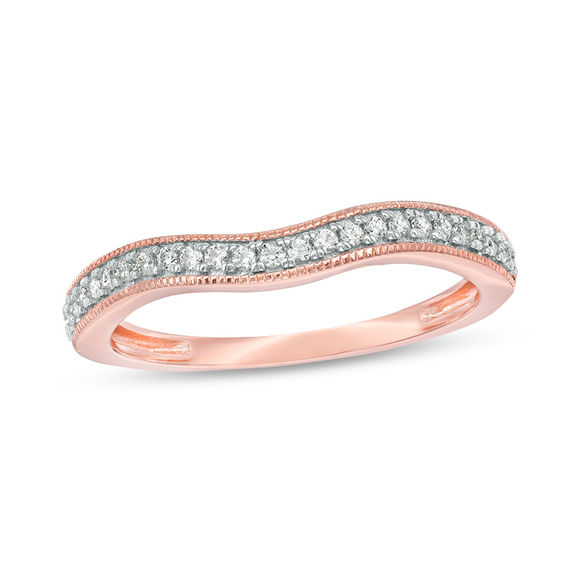 1 6 CT T W Diamond Vintage Style Contour Wedding Band in 10K Rose Gold