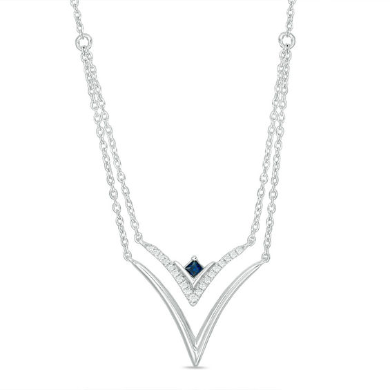Zales 1/15 CT. T.w. Diamond Sideways Key Necklace in Sterling Silver xm71RRw