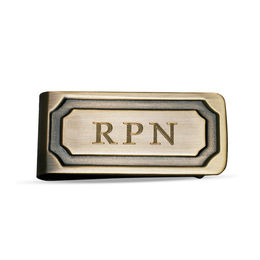 Men's Antique Finish Money Clip in Brass (1 Line)