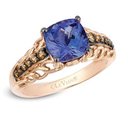 Le Vian® Cushion-Cut Blueberry Tanzanite® and 1/5 CT. T.W. Diamond Ring in 14K Strawberry Gold®
