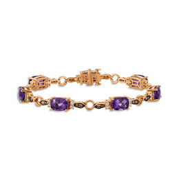 Le Vian® Cushion-Cut Grape Amethyst™ and 1 CT. T.W. Diamond Bracelet in 14K Strawberry Gold®