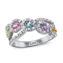 Mother's Simulated Birthstone and Cubic Zirconia Frame Crossover Ring in Sterling Silver (3-5 Stones and 1 Line)