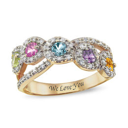 Birthstone and White Topaz Frame Crossover Ring by ArtCarved® in 10K White or Yellow Gold (3-5 Stones and 1 Line)