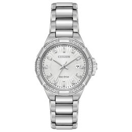 Ladies' Citizen Eco-Drive® Riva Diamond Accent Watch with Silver-Tone Dial (Model: EW2460-56A)