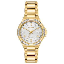 Ladies' Citizen Eco-Drive® Riva Diamond Accent Gold-Tone Watch with Silver-Tone Dial (Model: EW2462-51A)