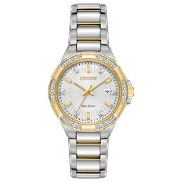 Ladies' Citizen Eco-Drive® Riva Diamond Accent Two-Tone Watch with Silver-Tone Dial (Model: EW2464-55A)