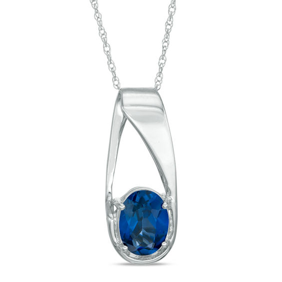 Oval Lab-Created Blue Sapphire Pendant in 10K White Gold