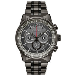 Men's Citizen Eco Drive® Nighthawk Grey IP Chronograph Watch with Grey Dial (Model: CA4377-53H)