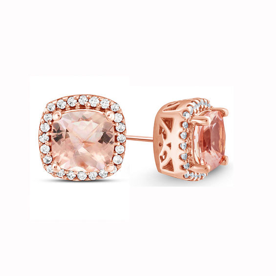 5 0mm Cushion Cut Morganite And 1 10 Ct T W Diamond Frame Stud Earrings In 10k Rose Gold Zales