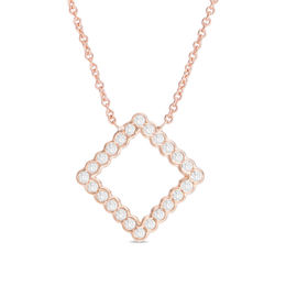 1/4 CT. T.W. Diamond Tilted Square Necklace in 10K Rose Gold