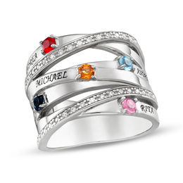 Mother's Simulated Birthstone and Cubic Zirconia Orbit Ring in Sterling Silver (5 Stones and Names)