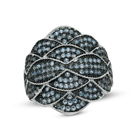 Lab-Created Blue Spinel Scallop Vintage-Style Ring in Sterling Silver 20121762