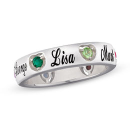 Mother's Simulated Birthstone Heart Band in Sterling Silver with Platinum Plate (2-6 Stones and Names)