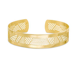 15.0mm Diamond-Cut Aztec Inspired Cutout Cuff in 10K Gold -7.25""