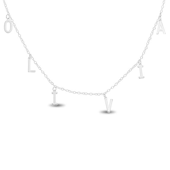 letter charm station choker necklace in sterling silver 1 line 16