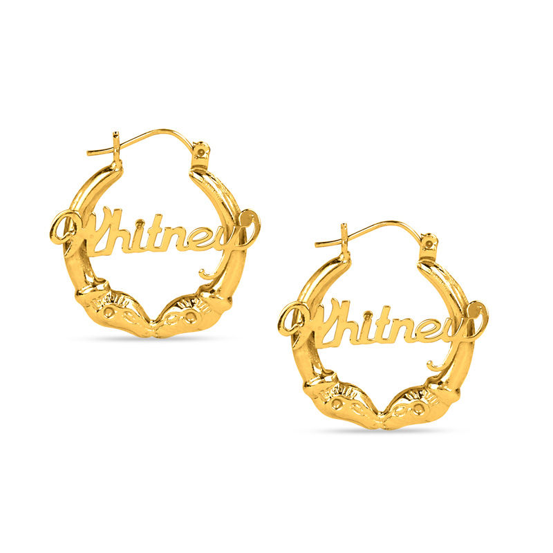 Ram S Head Name Hoop Earrings In Sterling Silver With 14k Gold Plate 1