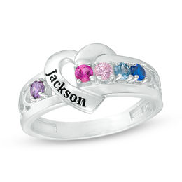 Mother's Birthstone Heart Frame Ring (5 Stones and 1 Line)