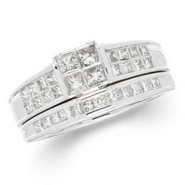 1 CT. T.W. Certified Quad Princess-Cut Diamond Frame Bridal Set in 14K White Gold (I/I1)
