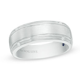 Vera Wang Love Collection Men's 1/20 CT. T.W. Diamond Four Stone Wedding Band in 14K White Gold