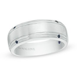 Vera Wang Love Collection Men's Blue Sapphire Four Stone Wedding Band in 14K White Gold